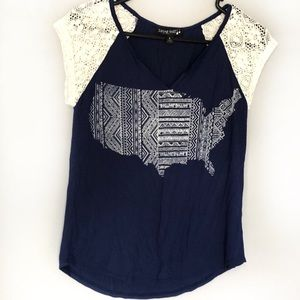 Living Doll Small Tee With Crochet Sleeves and USA